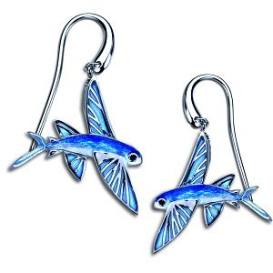 Guy Harvey Enamel Flying Fish Dangle Earrings Sterling Silver